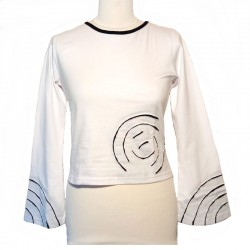 Cotton spiral T shirt long sleeves - White and black
