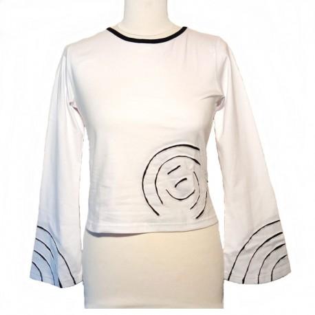 Tee shirt spirale en coton manches longues - Blanc et noir