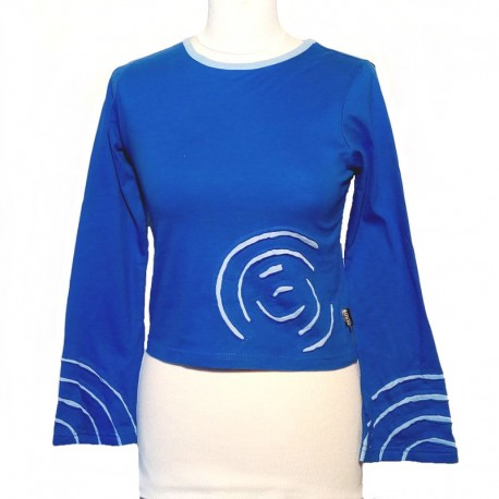 Tee shirt spirale en coton manches longues - Bleu et bleu clair