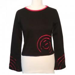 Tee shirt spirale en coton manches longues - Noir et rouge