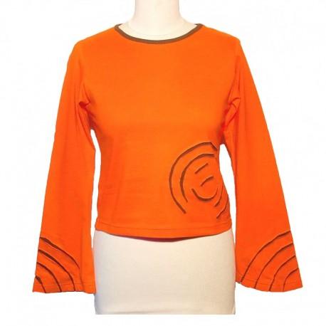 Tee shirt spirale en coton manches longues - Orange et kaki