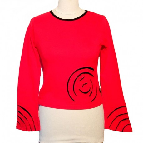 Cotton spiral T shirt long sleeves - Red and black