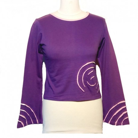 Cotton spiral T shirt long sleeves - Purple and light pink
