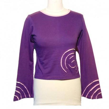Tee shirt spirale en coton manches longues - Violet et rose clair