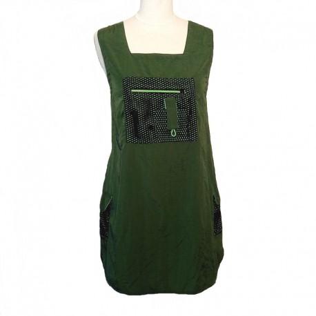 Robe courte toile de Parachute - Vert et noir