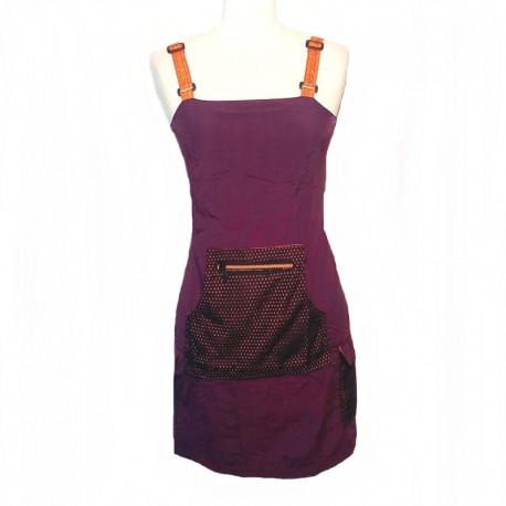 Robe courte bretelle toile de Parachute - Violet et orange