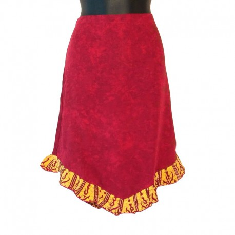Ethnic short skirt in rayon - Maroon and yellow