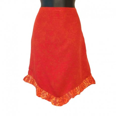 Ethnic short skirt in rayon - Red and orange