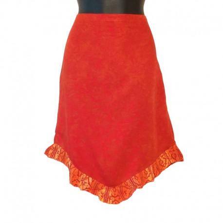 Jupe courte ethnique en rayonne - Rouge et orange