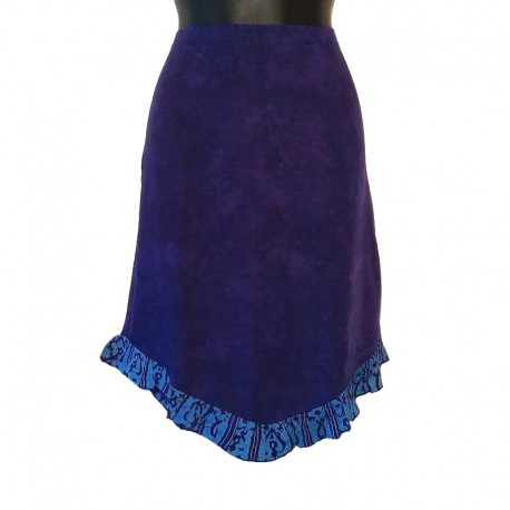 Ethnic short skirt in rayon - Purple and parma