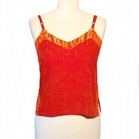 Rayon top with straps - Red and orange