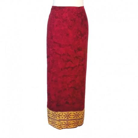 Rayon wraparound skirt - Maroon and yellow