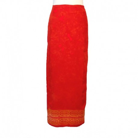 Jupe portefeuille en rayonne - Rouge et orange