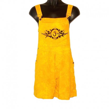 Ethnic short overalls - Size 10 us - Yellow-orange