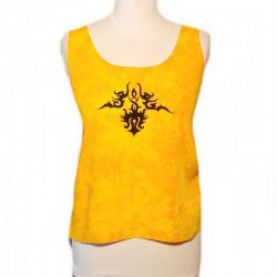 Rayon tank top - Yellow, black design