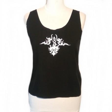Rayon tank top - Black, white design