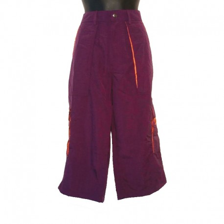 Woman capri short in parachute fabric - Purple