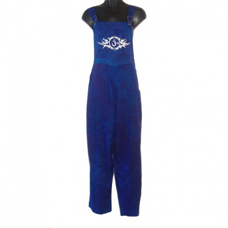 Ethnic overalls - Size 8 us - Blue with white design