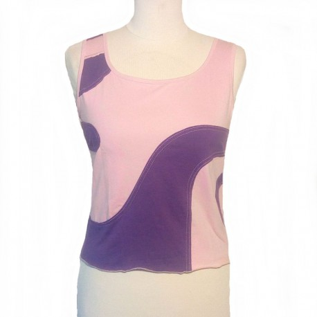Cotton spiral top tank - Pink and purple