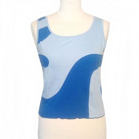Débardeur spirale en coton - Bleu clair et bleu