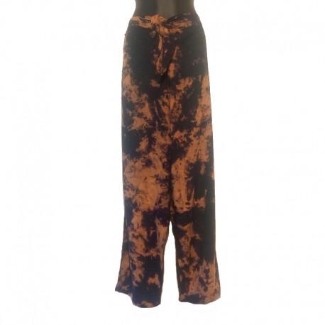 Pantalon en rayonne - Marron chiné