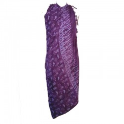 Paréo violet design blanc