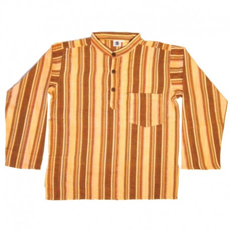 Stripped cotton shirt M - Salmon/coffee