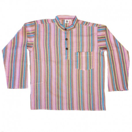 Stripped cotton shirt M - Parma/blue/brown
