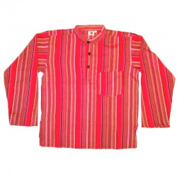 Stripped cotton shirt M - Red/black/maroon