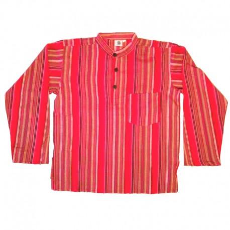 Chemise en coton rayé M - Rouge/noir/bordeaux