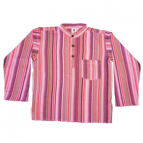 Stripped cotton shirt M - Purple/light pink/red