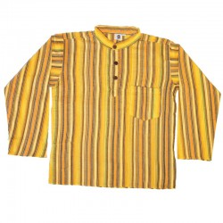 Chemise en coton rayé M - Jaune/orange/marron