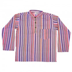 Chemise en coton rayé M - Violet foncé et clair/rouge