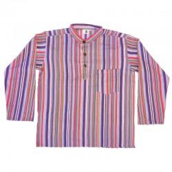 Chemise en coton rayé L - Violet foncé/violet clair/rouge