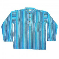 Stripped cotton shirt S - Turquoise/red/green