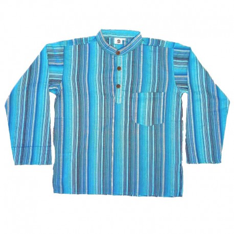 Chemise en coton rayé S - Bleu turquoise/rouge/vert