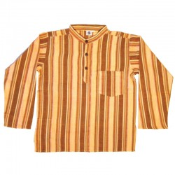 Stripped cotton shirt S - Salmon/coffee