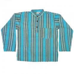 Chemise en coton rayé S - Bleu clair et bleu foncé
