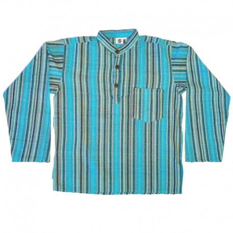 Stripped cotton shirt S - Light and dark blue