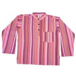 Stripped cotton shirt S - Purple/light pink/red