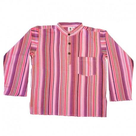 Chemise en coton rayé S - Violet/rose/rouge