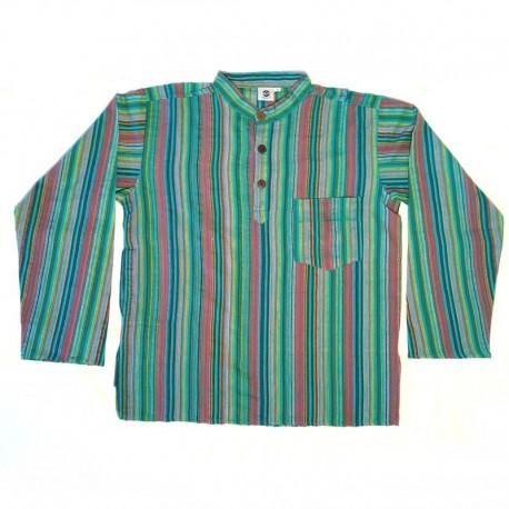 Chemise en coton rayé S - Vert/bleu turquoise/rouge