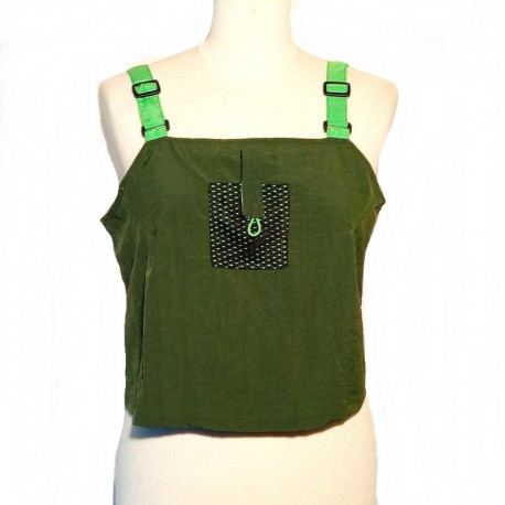 Short top olive green with anis green straps size L