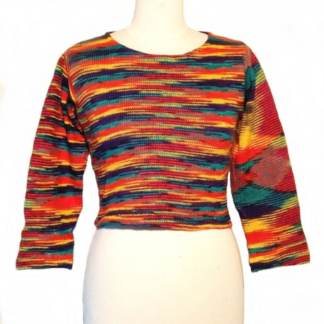 Pull court en coton multicolore