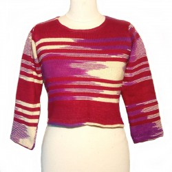 Short maroon and cream cotton sweater