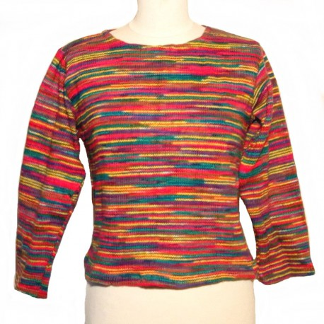 Short multicolored cotton sweater