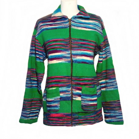 Green and blue cotton vest