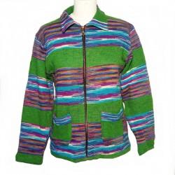 Gilet ethnique coton vert et violet