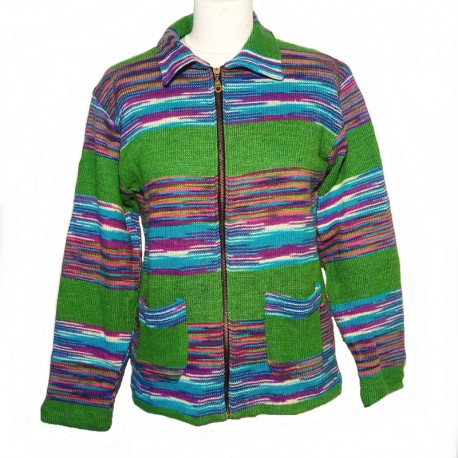Ethnic vest in green and purple cotton