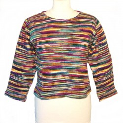 Short purple and yellow cotton sweater